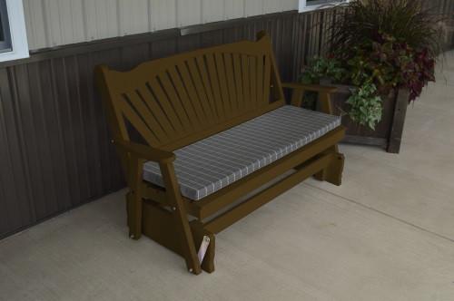 4' Fanback Yellow Pine Glider - Coffee w/ Cushion