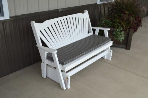 4' Fanback Yellow Pine Glider - White w/ Cushion