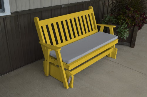4' Traditional English Yellow Pine Glider - Canary Yellow w/ Cushion
