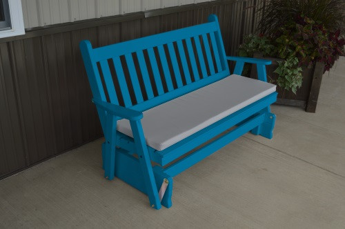 4' Traditional English Yellow Pine Glider - Caribbean Blue w/ Cushion