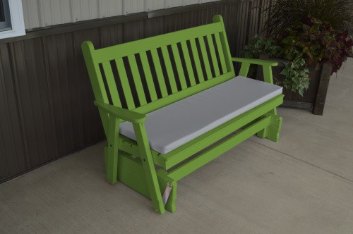 4' Traditional English Yellow Pine Glider - Lime Green w/ Cushion