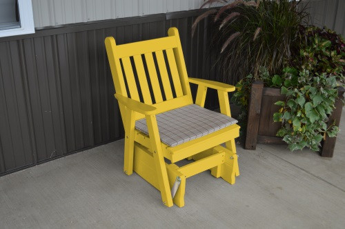 Traditional English Yellow Pine Glider Chair - Canary Yellow w/ Cushion