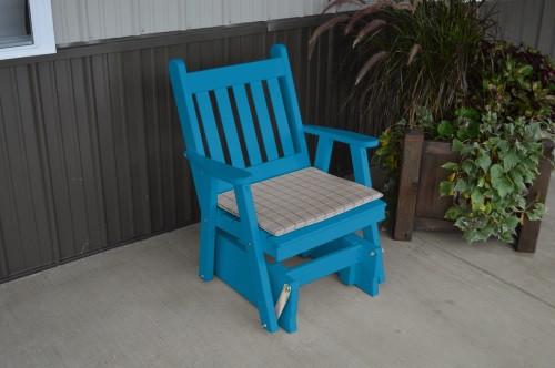 Traditional English Yellow Pine Glider Chair - Caribbean Blue w/ Cushion