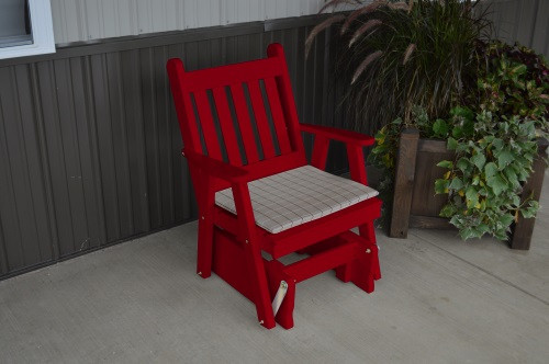 Traditional English Yellow Pine Glider Chair - Tractor Red w/ Cushion