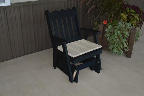 Royal English Yellow Pine Glider Chair - Black w/ Cushion