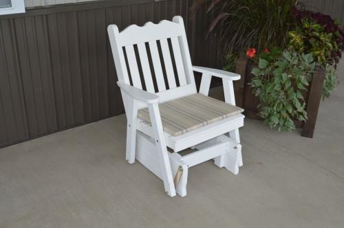 Royal English Yellow Pine Glider Chair - White w/ Cushion