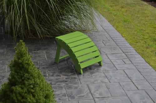 Folding Yellow Pine Ottoman - Lime Green