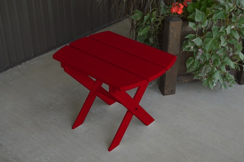 Folding Oval Yellow Pine End Table - Tractor Red