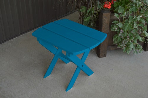Folding Oval Yellow Pine End Table - Caribbean Blue