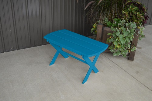 Folding Coffee Yellow Pine Table - Caribbean Blue