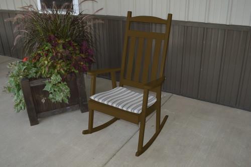 Classic Yellow Pine Porch Rocker - Coffee w/ Cushion