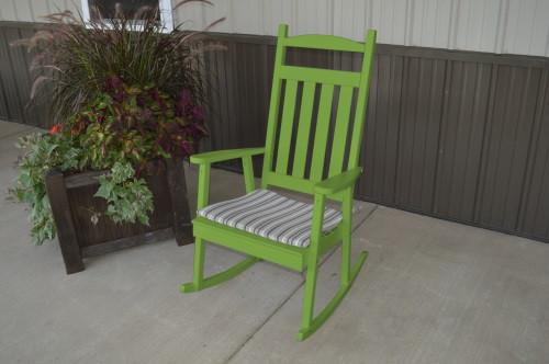 Classic Yellow Pine Porch Rocker - Lime Green w/ Cushion