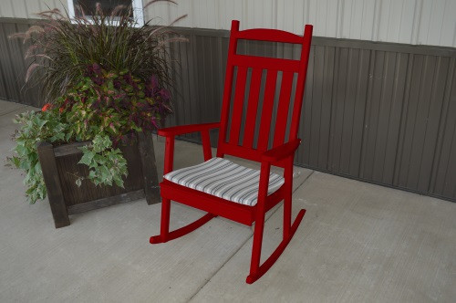 Classic Yellow Pine Porch Rocker - Tractor Red w/ Cushion