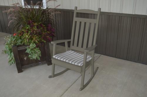 Classic Yellow Pine Porch Rocker - Olive Gray w/ Cushion