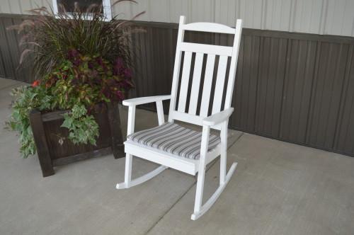 Classic Yellow Pine Porch Rocker - White w/ Cushion