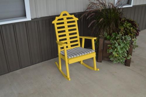 Marlboro Yellow Pine Porch Rocker - Canary Yellow w/ Cushion