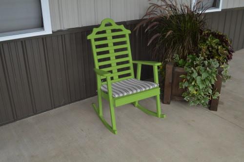Marlboro Yellow Pine Porch Rocker - Lime Green w/ Cushion