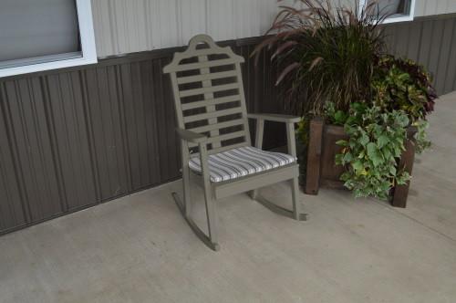 Marlboro Yellow Pine Porch Rocker - Olive Gray w/ Cushion
