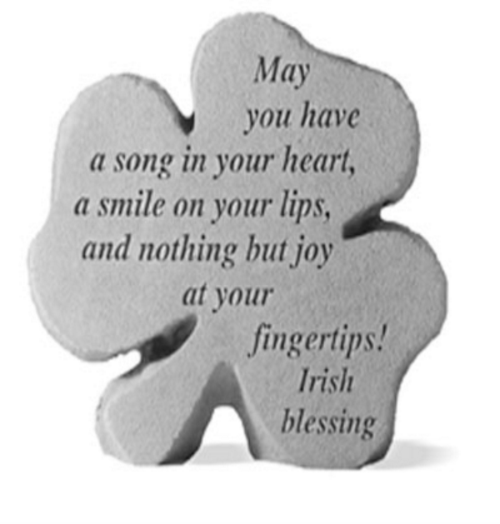 May you have a song in your heart...Decorative Shamrock Garden Stone