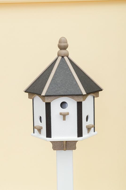 6 Hole Polywood Birdhouse - Black/WR/White Walls