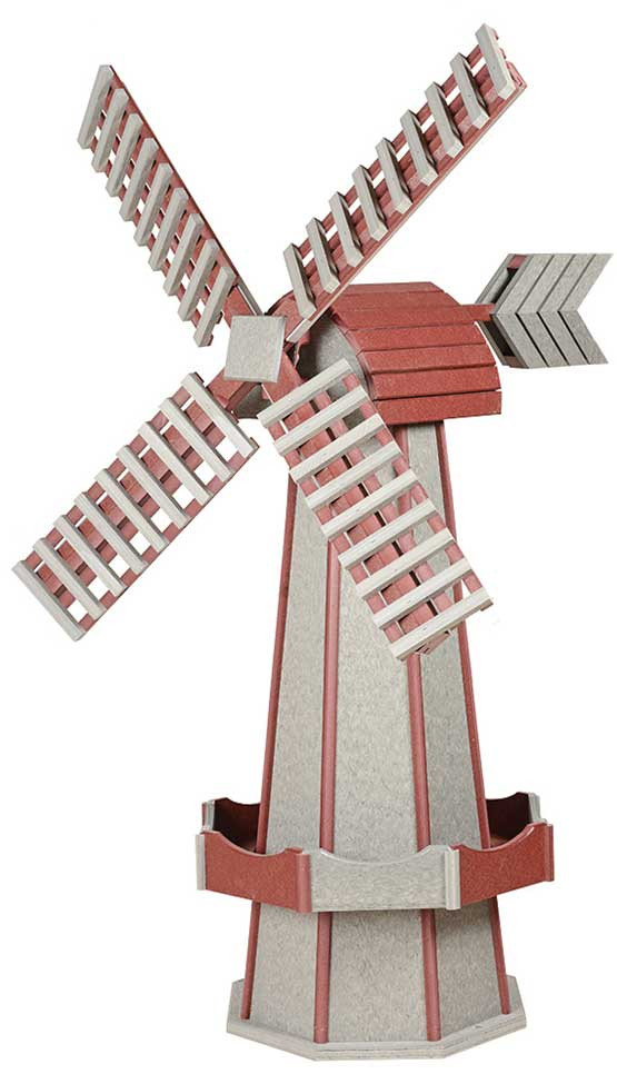 Large Poly Garden Windmill - Driftwood & Cherrywood