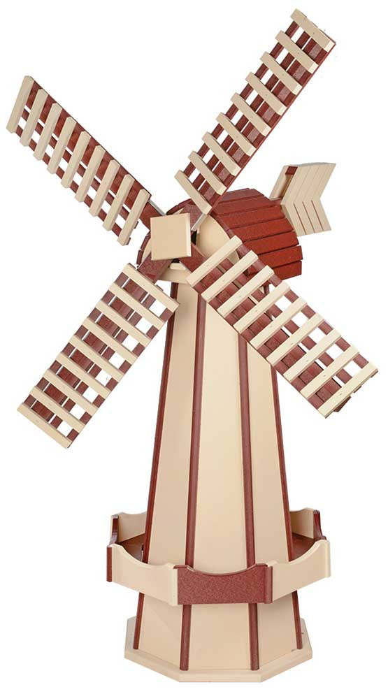 Large Poly Garden Windmill - Ivory & Cherrywood
