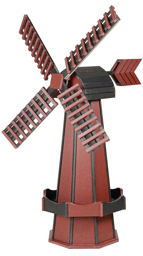 Large Poly Garden Windmill - Cherrywood & Black