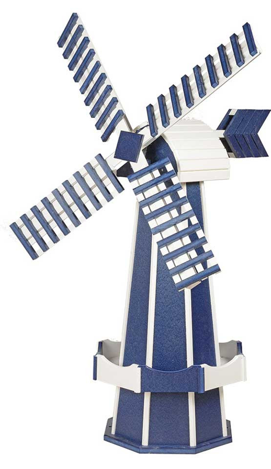 Large Poly Garden Windmill - Patriot Blue & White