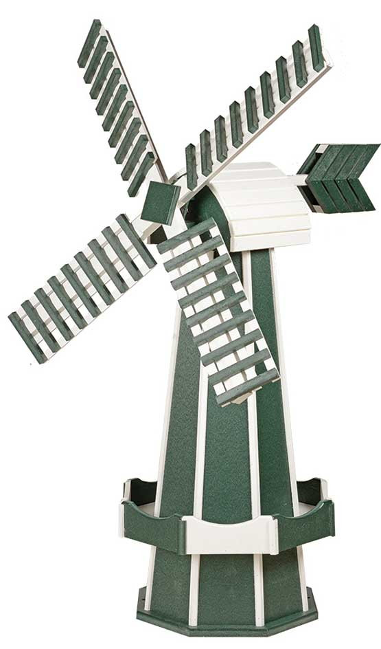 Large Poly Garden Windmill - Turf Green & White