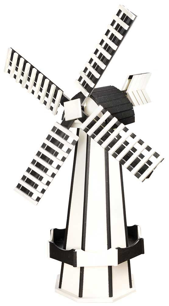 Large Poly Garden Windmill - White & Black