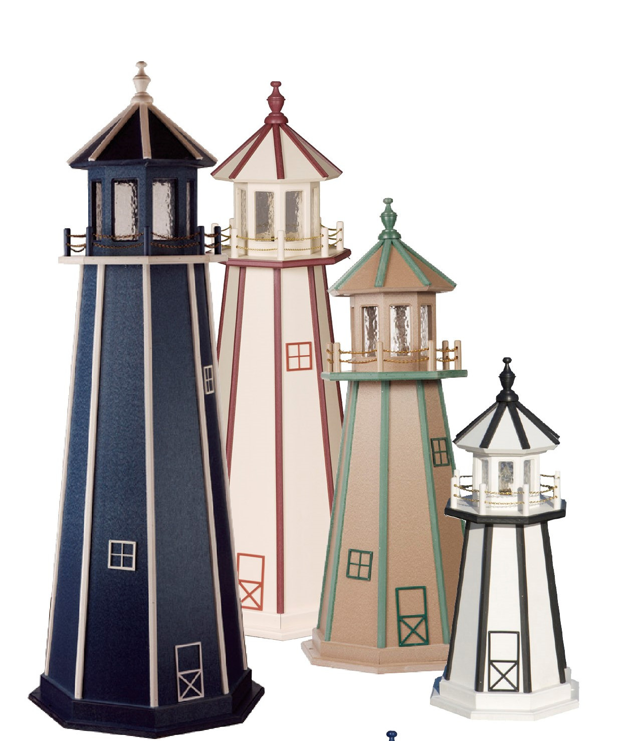 Custom Painted Wooden Lighthouse Group