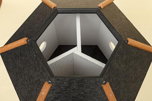 3 Hole Hexagon Polywood Birdhouse - Shown inside