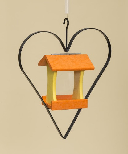 Poly Wood Mini Bird Feeder with Heart - Orange Roof & Floor/Yellow Side Walls