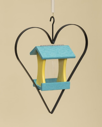 Poly Wood Mini Bird Feeder with Heart - Teal Roof & Floor/Yellow Side Walls
