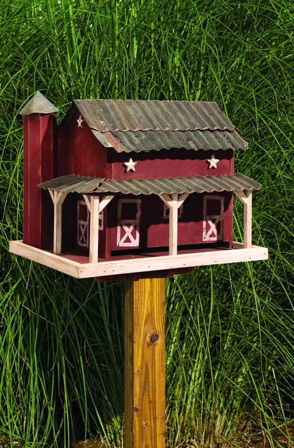 Primitive Barn with Tin Roof Bird Feeder