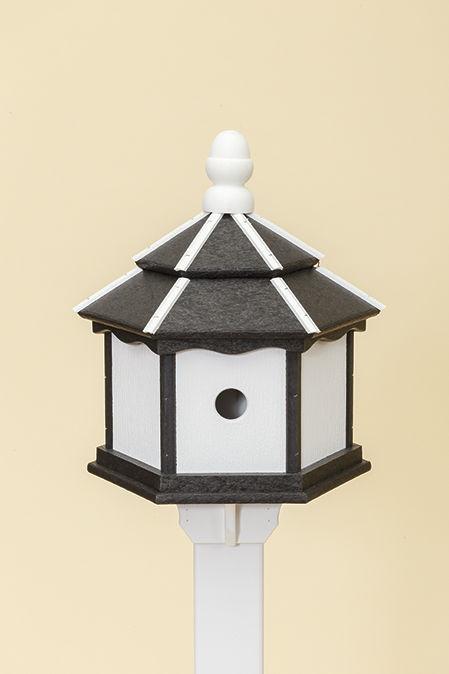 3 Hole Hexagon Polywood Birdhouse - Black/White- Post Mount
