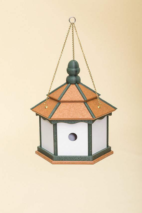 3 Hole Hexagon Polywood Birdhouse - Cedar/Green/White - Hanging