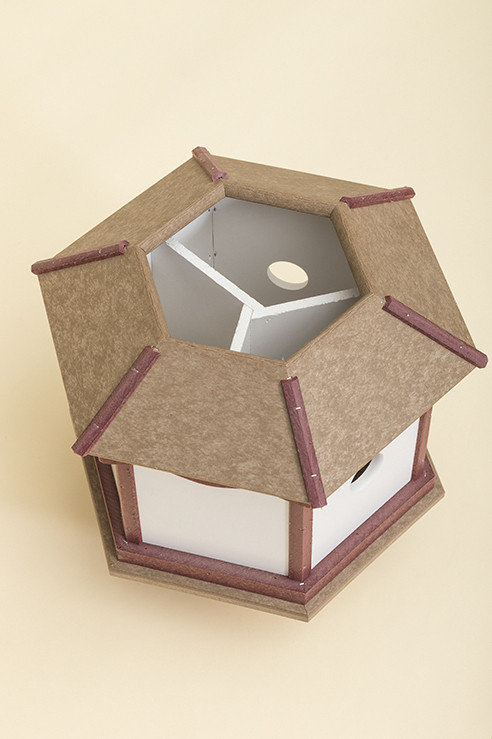 3 Hole Hexagon Polywood Birdhouse  - Shown Open