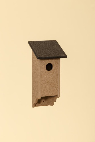 Poly Wood Bluebird House - Weatherwood Base/Black Roof