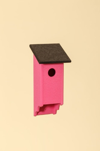 Poly Wood Bluebird House - Pink Base/Black Roof