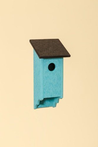 Poly Wood Bluebird House - Teal Base/Black Roof
