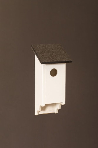 Poly Wood Bluebird House - White Base/Black Roof