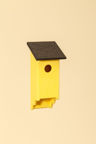 Poly Wood Bluebird House - Yellow Base/Black Roof