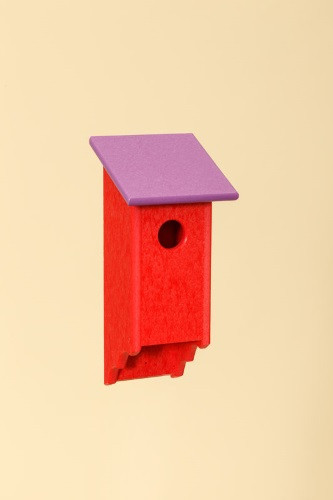 Poly Wood Bluebird House - Red Base/Purple Roof