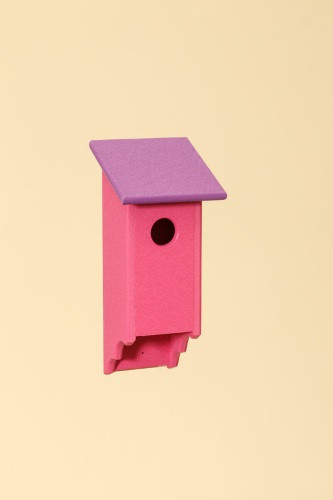 Poly Wood Bluebird House - Pink Base/Purple Roof