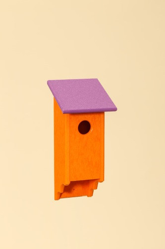 Poly Wood Bluebird House - Orange Base/Purple Roof