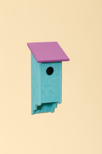 Poly Wood Bluebird House - Teal Base/Purple Roof