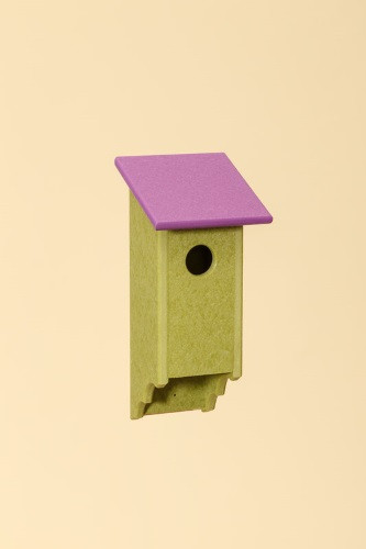 Poly Wood Bluebird House - Lime Base/Purple Roof