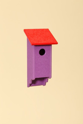 Poly Wood Bluebird House - Purple Base/Red Roof