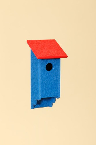 Poly Wood Bluebird House - Blue Base/Red Roof